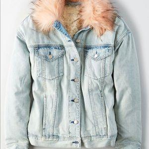 American Eagle Womens Faux Fur Sherpa Denim Jacket